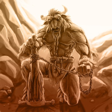 Lakis the minotaur, hairiest bull-man